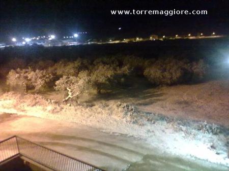 Vista del Subappennino Dauno di sera con la neve
